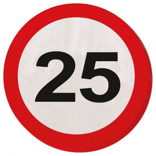 Traffic Sign 25th Party Napkins 20s Birthday Tableware Table Disposables